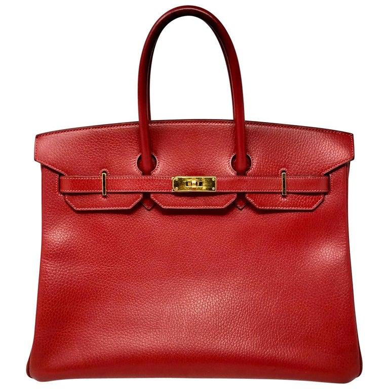 Hermes Red Birkin 35 Bag