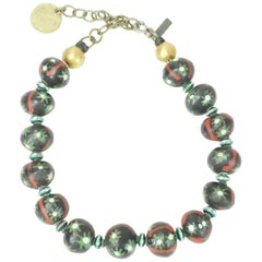 Marsha Archer Black/Green/Red Painted Round Stone Necklace, 1994