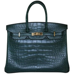 Hermès 35CM Alligator Vert Titien Gold H/W Birkin Bag