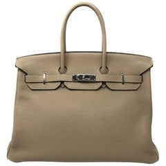 Hermes Birkin 35 Gris Tourterelle with Palladium hardware