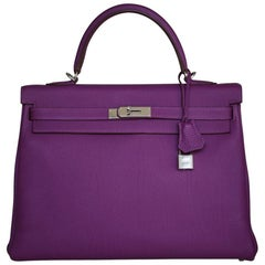 Hermès 35CM Violet Togo Leather Silver H/W Kelly Bag