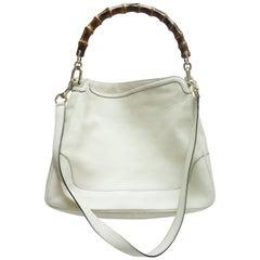 Gucci Ivory Diana Handbag With Bamboo Handle