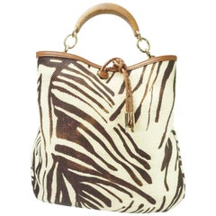 Salvatore Ferragamo Earthtone Zebra Print Raffia Wood Studded Handle Handbag
