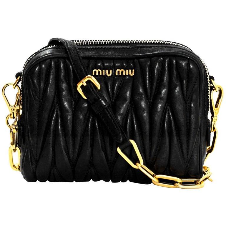 Miu Miu Black Nappa Leather Matelasse Lux Camera Crossbody Bag For Sale 2053bfe44c07d