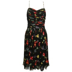 Anna Sui for Anthropologie Black Floral Flowy Dress