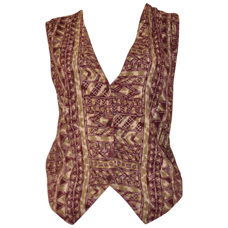 Rare Vintage Collezioni Gianni Versace Men's Ikat Print Waistcoat