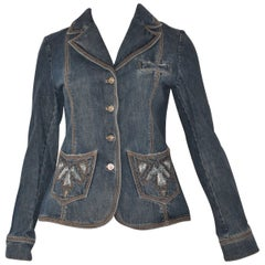 Escada Jean Jacket with Weathered Pocket Design (34)