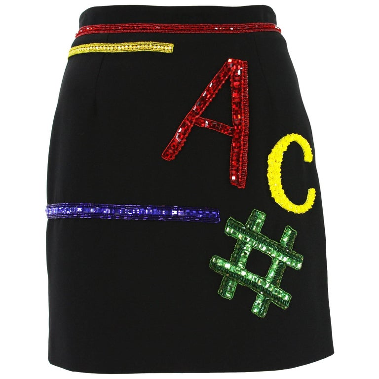 New Versace Mini Swarovski Crystal Beaded Black Silk Skirt It. 40