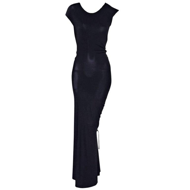 Black Celine Jersey Knit Ruched Maxi Dress