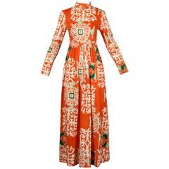 1970s Bergdorf Goodman Vintage Orange Polynesian Tikki Print Op Art Maxi Dress