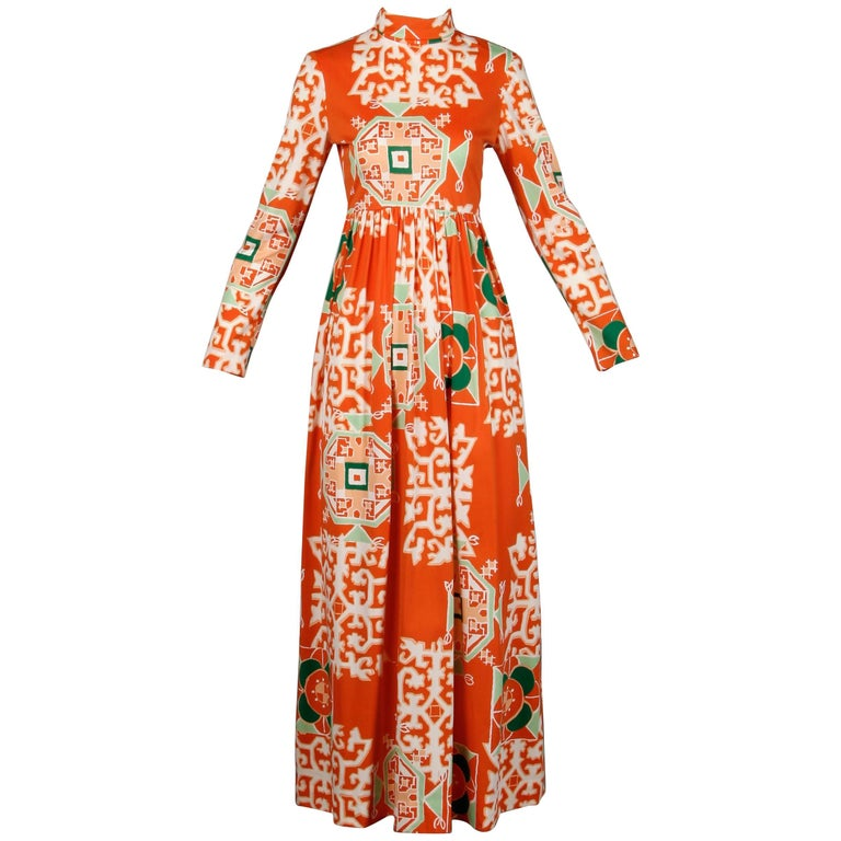 1970s Bergdorf Goodman Vintage Orange Polynesian Tikki Print Op Art Maxi Dress