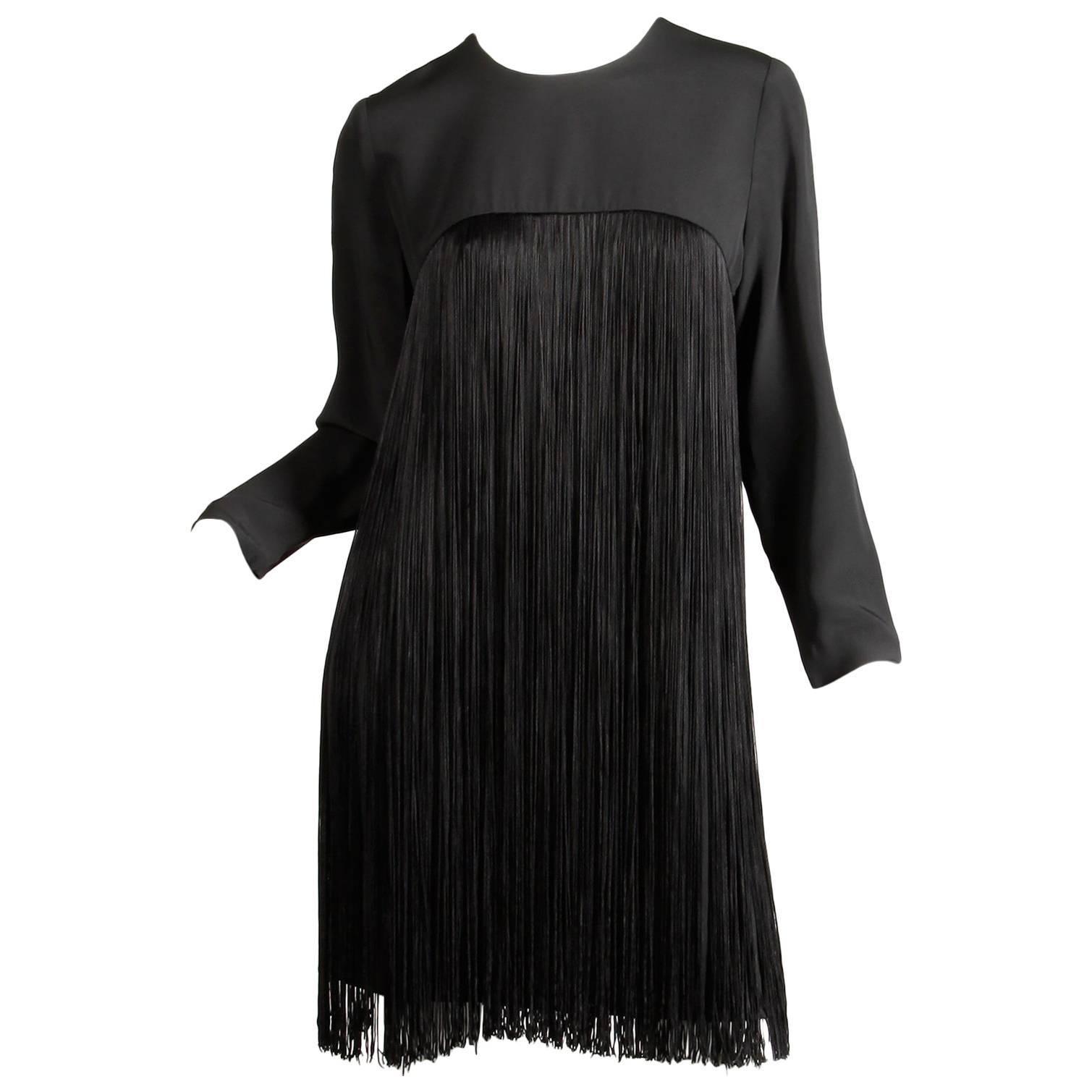 1970s Travilla Vintage Black Long Sleeve Flapper Fringe Cocktail Dress