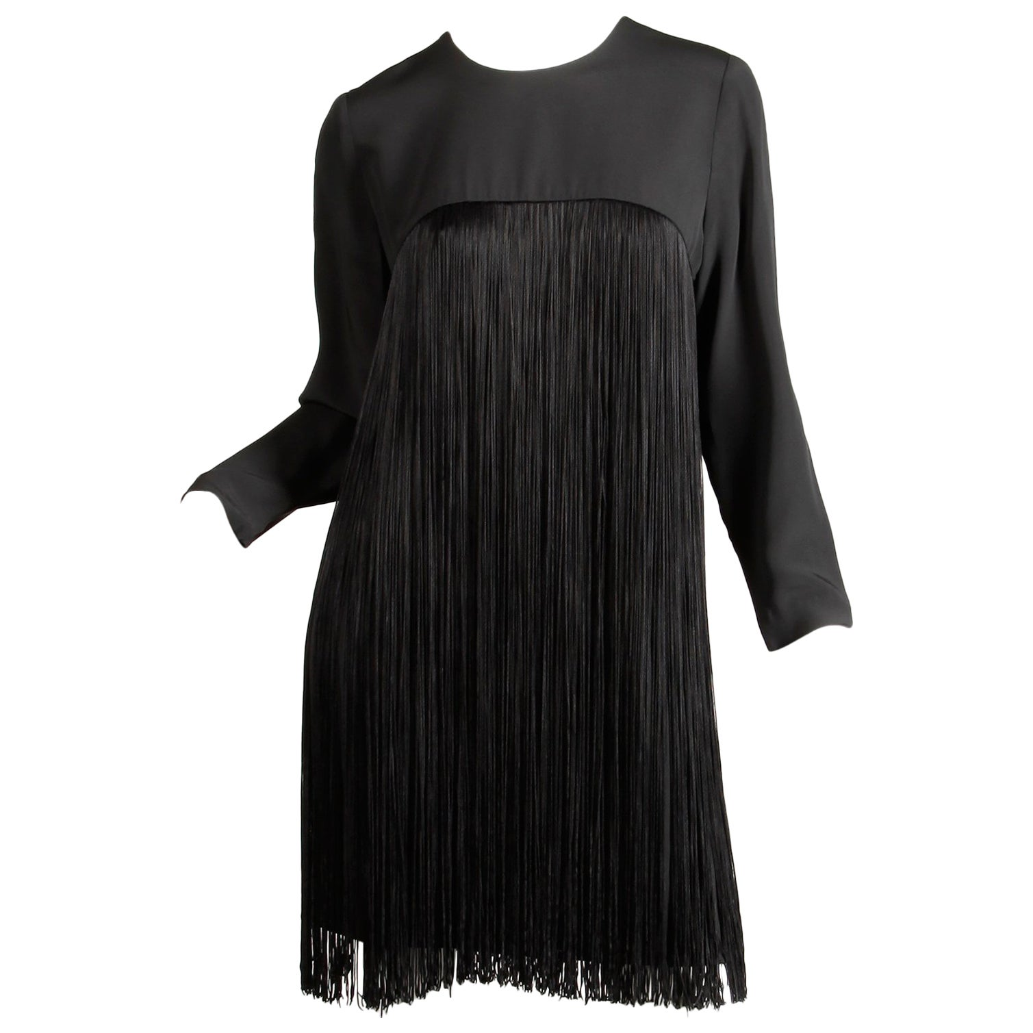 1970s Travilla Vintage Black Long Sleeve Flapper Fringe Cocktail Dress