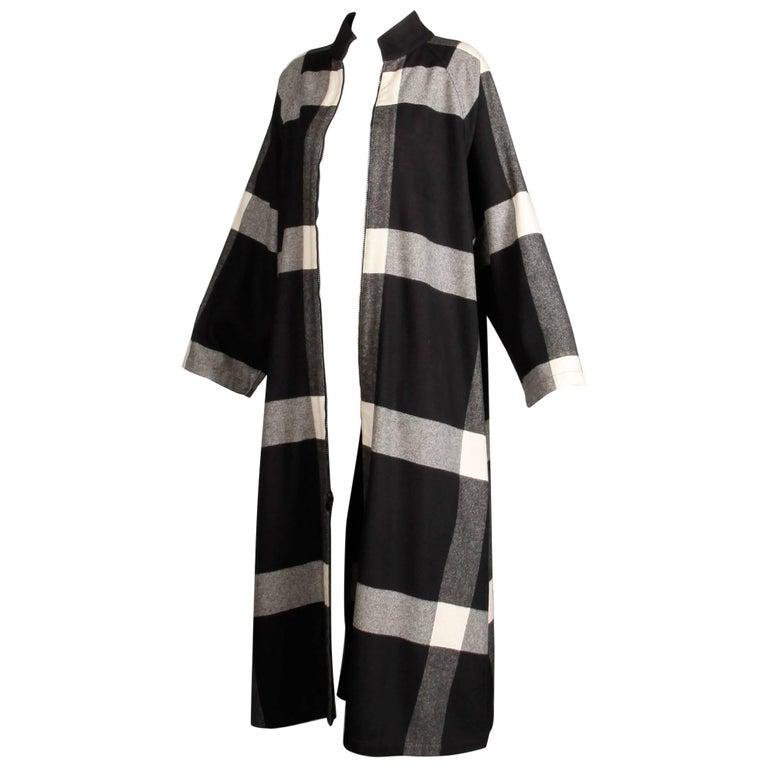 1980s Michaele Vollbracht Vintage Cashmere Wool Plaid Coat Dress or Duster