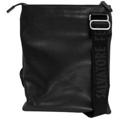 Salvatore Ferragamo Black Leather Flat Crossbody Bag