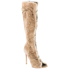 Gianvito Rossi Suede Shearling Trimmed Knee High Lace Up Boots