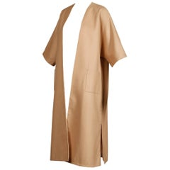 Unworn with Tags 1970s Vintage Camel Wool Maxi Coat or Duster with 3/4 Sleeves