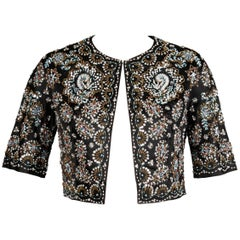 1960s Vintage Black Silk Satin Sequin + Beaded Bolero Jacket with 3/4 Sleeves