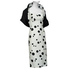 Black and White Polka Dot Wiggle Dress and Reversible Wrap, 1950s