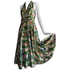 1950s Hawaiian Island Print Cotton Halter Dress W/ Circle Skirt