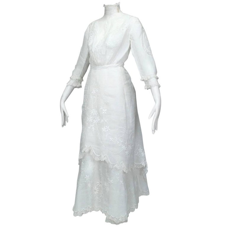 Victorian Handkerchief Hem Eyelet and Lace Bustle Tea Dress For Sale