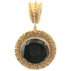 Bronze Pendant with black engraved Murano Glass inserts