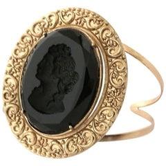 Bronze and black Murano glass bracelet