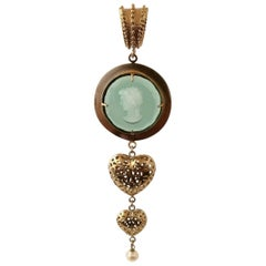 Bronze Pendant with Murano Glass, Hearts and Pearl