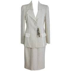 Annalisa Ferro Set Dress Wool and Cotton White Silver Italian Skirt Suit, 1980s