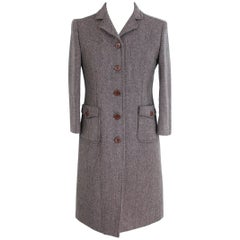 Miu Miu Tweed Wool Brown Button Leather Italian Coat, 2000s