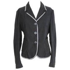 Marithe Francois Girbaud Blazer Black Viscose Cotton Italian Jacket, 1990s