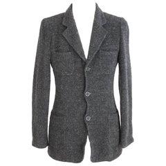 Dolce GabbanaBlazer Slim Fit Mohair Wool Black Italian Jacket, 1990s
