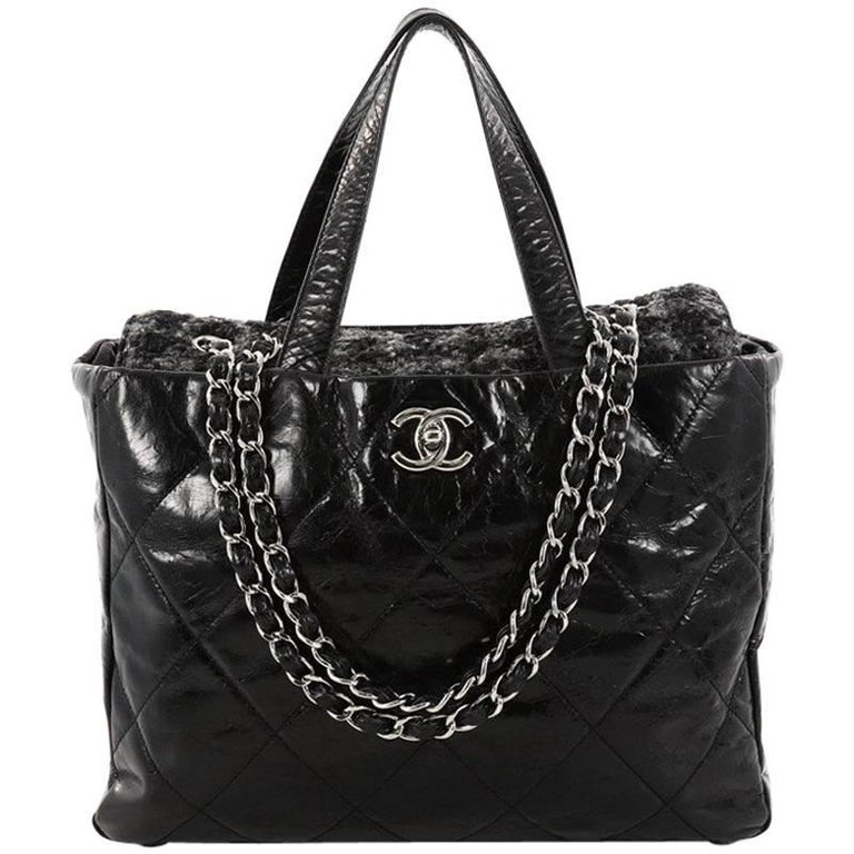 318c4bf676cb Chanel Portobello Tote Quilted Glazed Calfskin and Tweed Medium For Sale. This  authentic ...