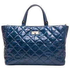 Chanel Aged Blue Quilted Leather Tote Bag