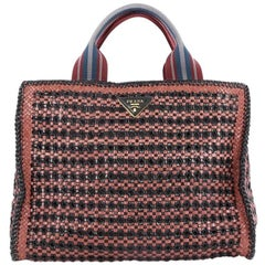 Prada Convertible Open Tote Madras Woven Leather Medium