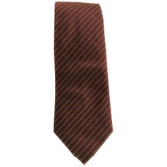 HERMES Tie in Burgundy Silk and Cashmere with Fluorescent Green lines