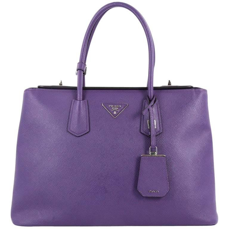 Prada Turnlock Twin Tote Saffiano Leather Medium For Sale