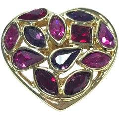 YVES SAINT LAURENT Heart Pin in Gilded Metal and Small Colored Resins