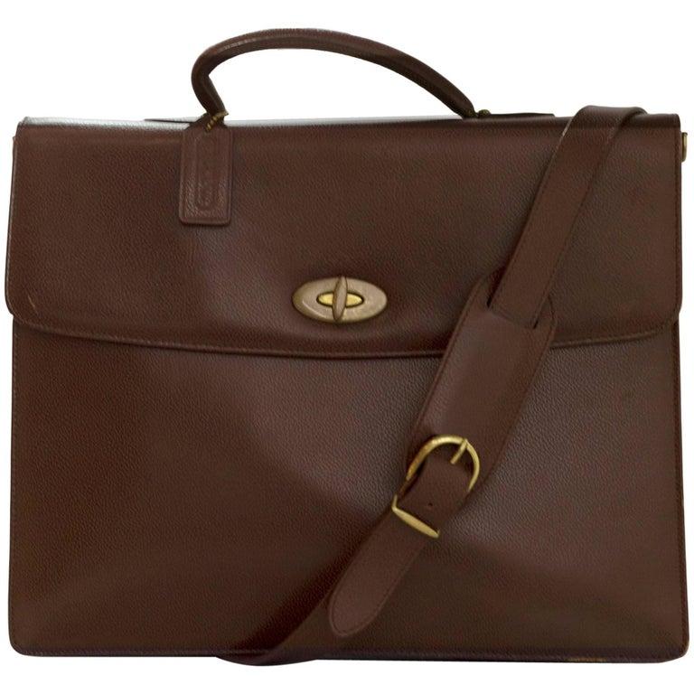 Coach Brown Leather Briefcase Bag w/ Strap