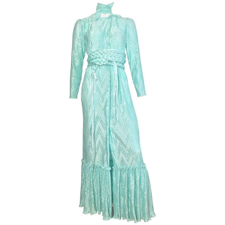 Mary McFadden for Bonwit Teller 1970s Aqua Maxi Dress with Belt Size Small.