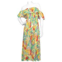 A Late 1970s Vintage Yves Saint Laurent Rive Gauche Floral Dress