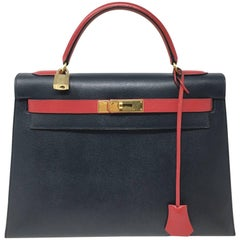Hermes Kelly 32 Courchevel Double Colors Dark Blue and Rouge Garance Bag, 1993