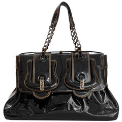 Fendi Black Patent Leather Large B Bag