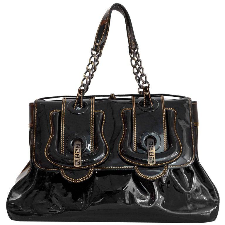 Fendi Black Patent Leather Large B Bag