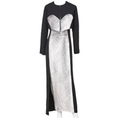Geoffrey Beene Wool Crepe with Panne Velvet Gown and Bolero