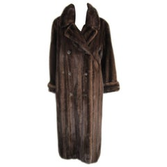 1990s Double Breasted Chestnut Brown Long Mink Coat Wide Cuff