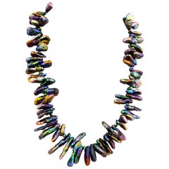 Gemjunky Dramatic Irridescent Abalone Cultured Fresh Water Keshi Pearl Necklace