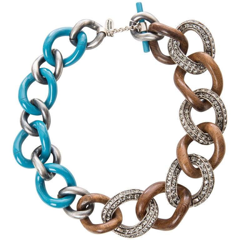 Elie Top for Lanvin Gunmetal Wood & Blue Enamel Chain Link Necklace For Sale