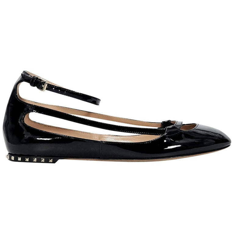 Black Valentino Patent Leather Ballet Flats