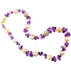 Cultured Fresh Water Pearls and Amethyst Necklace With Gold and Diamond Clasp